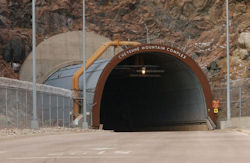 The North Portal entrance to the Cheyenne Mountain Complex in Colorado.