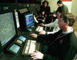 Air traffic controllers at the FAA's Cleveland Center.