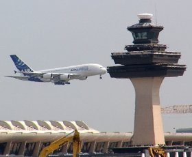 The air traffic control tower at Dulles International Airport.