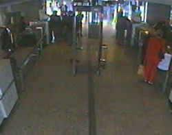 An image from a Dulles Airport surveillance video.