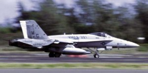 An F/A-18A Hornet belonging to Marine Fighter Attack Squadron 321.