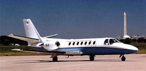 One of the FAA's Cessna Citation V jet planes.