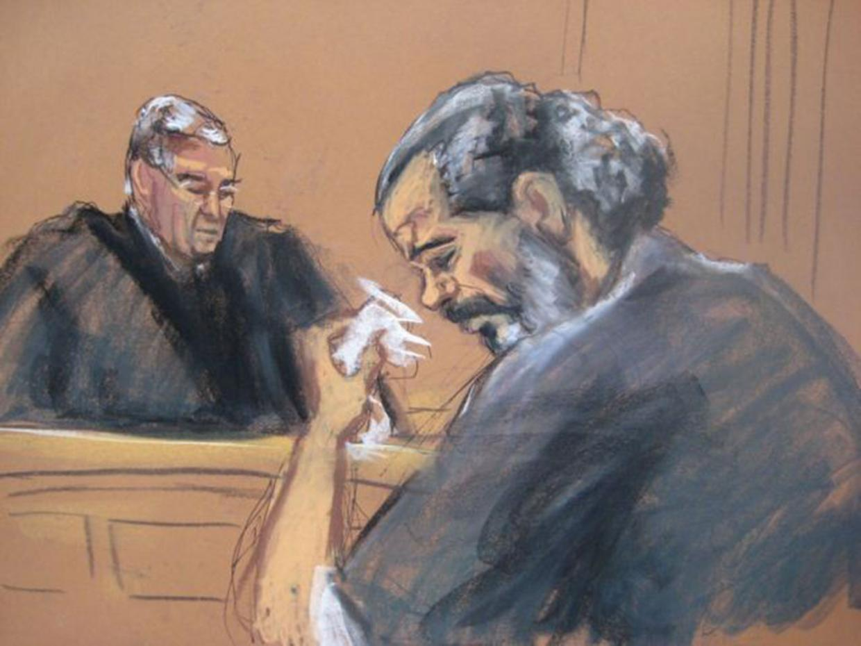 An artist's rendition of Adel Abdel Bary tearing up in court.