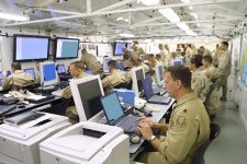 CENTCOM officials engage in 'Internal Look' wargaming in the command center in Doha, Qatar.