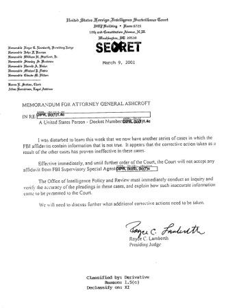 Royce Lamberth's letter to John Ashcroft, obtained by the 9/11 Timeline by Freedom of Information Act request.