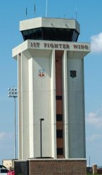 The air traffic control tower at Langley Air Force Base.