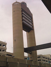 The air traffic control tower at Logan Airport.