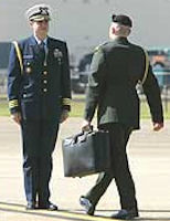 Military officers exchanging the 'nuclear football' under the nose of Air Force One.