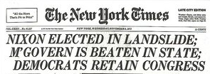 New York Times headline announcing Nixon victory.
