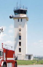 The air traffic control tower at Otis Air National Guard Base.