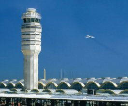 The air traffic control tower at Reagan National Airport.