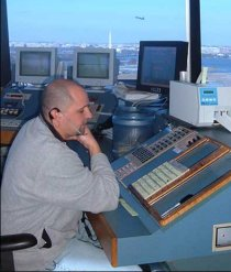 An air traffic controller in the tower at Reagan National Airport.