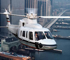 A Sikorsky S-76A helicopter flying over New York.