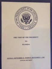 The cover of President Bush's schedule for September 11.
