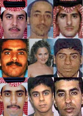 Jeddah consular officer Shayna Steinger (center) and eight of the 10 hijackers she issued visas to. Clockwise from top left: Wail Alshehri, Hani Hanjour, Ahmed Alnami, Salem Alhazmi, Ahmed Alhaznawi, Saeed Alghamdi, Ahmed Alghamdi, and Khalid Almihdhar.