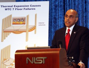 NIST lead investigator Shyam Sunder answering questions about NIST's three-year study of the collapse of WTC 7.