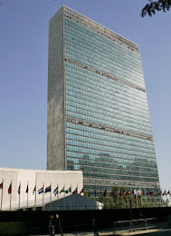 The United Nations headquarters building in New York.