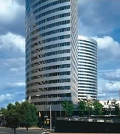 The &#8216;Twin Towers&#8217; USA Today building in Rosslyn, Virginia.