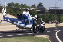 A US Park Police helicopter on the road outside the Pentagon.