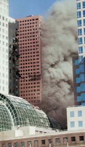 Damage to the southwest corner of WTC 7.