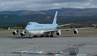 A Korean Airlines 747 at Whitehorse Airport.