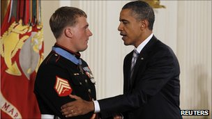 President Obama presents Marine Sergeant Dakota Meyer with the Medal of Honor.