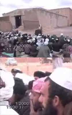 Bin Laden speaking at the podium in the top image. Ramzi bin al-Shibh is said to be the one wearing the red bandana on his head in the below image.