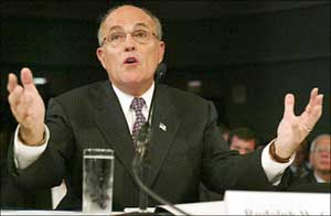Rudolph Giuliani testifying before the 9/11 Commission.