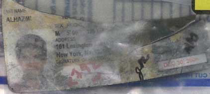 Nawaf Alhazmi's USA ID card, recovered from the Pentagon crash site.