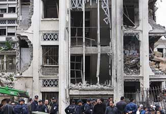 Damage after one of the Algiers bombings.