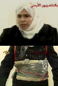 Saijida Mubarak Atrous al-Rishawi confesses on Jordanian television to attempting to be one of the suicide bombers. Her bomb belt is also shown.