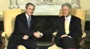 Clinton and Bush meeting in the White House on December 19, 2000.