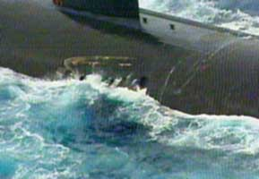 A close-up of the USS Greeneville, showing the gouges on her hull from the collision with the Ehime Maru.