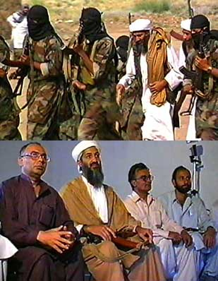 Top: Bin Laden, surrounded by security, walking to the press conference. Bottom: the three journalists attending the press conference sit next to bin Laden.