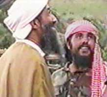 Qaed Salim Sinan Al-Harethi (right) with Osama bin Laden on May 26, 1998, in Khost, Afghanistan.