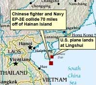 A map showing the location of the collision, and of the Hainan Island airfield where the crippled EP-3 landed.