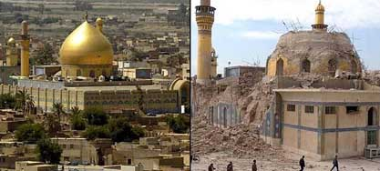 The Golden Mosque, before and after the bombing.