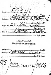 A photocopy of Fazul Abdullah Mohammed&#8217;s Comoros passport in Sudan&#8217;s intelligence files.