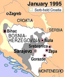 Bosnian boundaries during the four month cease fire in early 1995. The area controlled by Bosnian Muslims and Croats is shown in gray while the area controlled by Bosnian Serbs is shown in white. UN safe zones are circled in red.