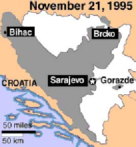 Final boundaries in the Bosnian war. Gray represents the area controlled by Bosnian Muslims and Croats while white represents the area controlled by Bosnian Serbs.