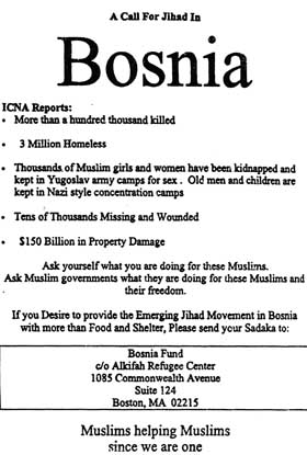 """A Call for Jihad in Bosnia"" flyer published by the Al-Kifah Refugee Center's Boston branch."