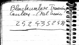 A page of Zacarias Moussaoui's notebook with a phone number for the security contractor Blackwater.