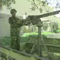 A guard on the US embassy in Sana'a, Yemen.