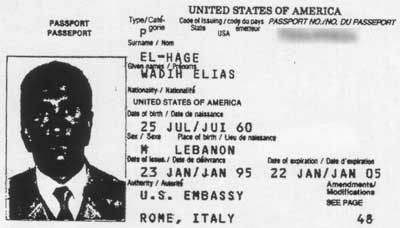 Wadih El-Hage&#8217;s US passport. His face is overly dark due to a poor photocopy.