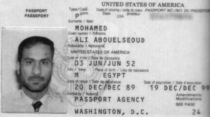Ali Mohamed's US passport, issued in 1989.