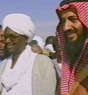 Osama bin Laden and Hassan al-Turabi in Sudan in the early 1990s.