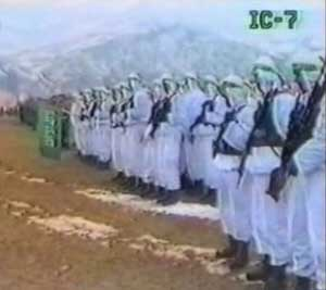 Mujaheddin battalions in formation during the Bosnia war. More details are unknown.
