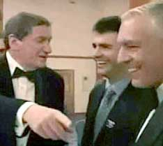 Richard Holbrooke (left),  Florin Krasniqi (middle), and Wesley Clark (right).