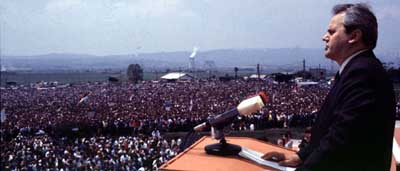 Slobodan Milosevic speaking in Kosovo on June 28, 1989, to commemorate the 600th anniversary of the Battle of Kosovo.