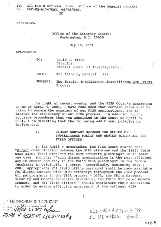 A memo from Attorney General John Ashcroft about the FISA process, obtained by the Center for Grassroots Oversight by FOIA request.